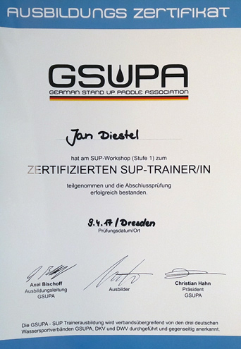 Wild East ist zertifizierter GSUPA Stand Up Paddle Ausbilder